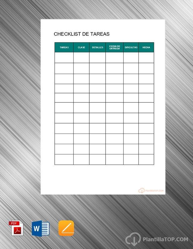 planning checklist tareas