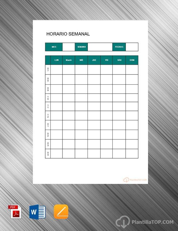 planning horario semanal