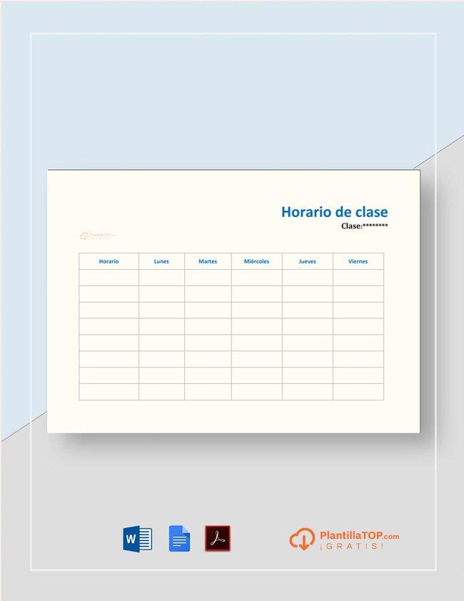 plantilla horario clase para rellenar