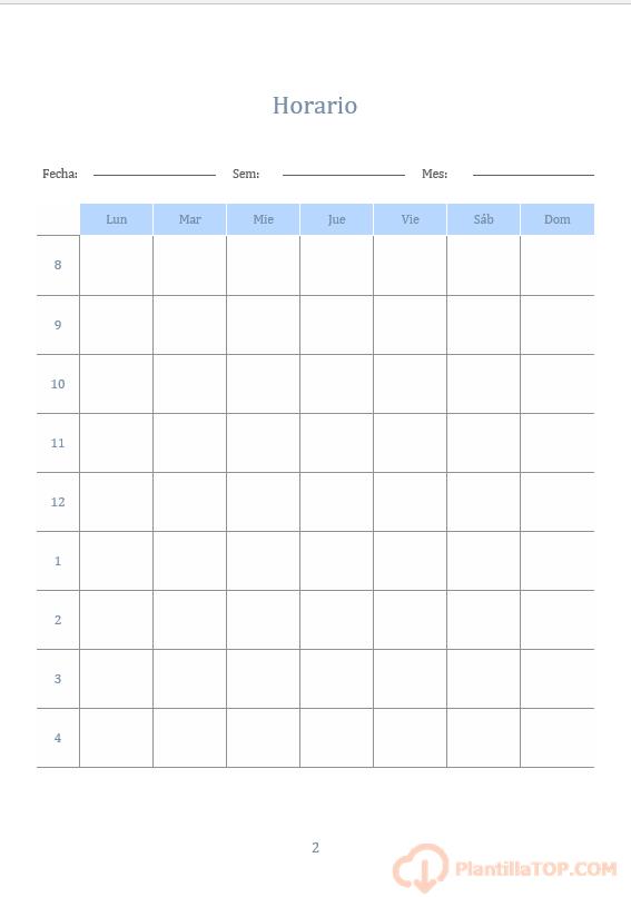 plantilla horario para imprimir