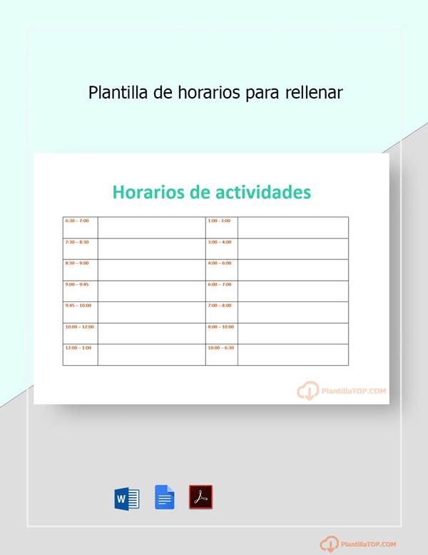 plantilla horarios actividades