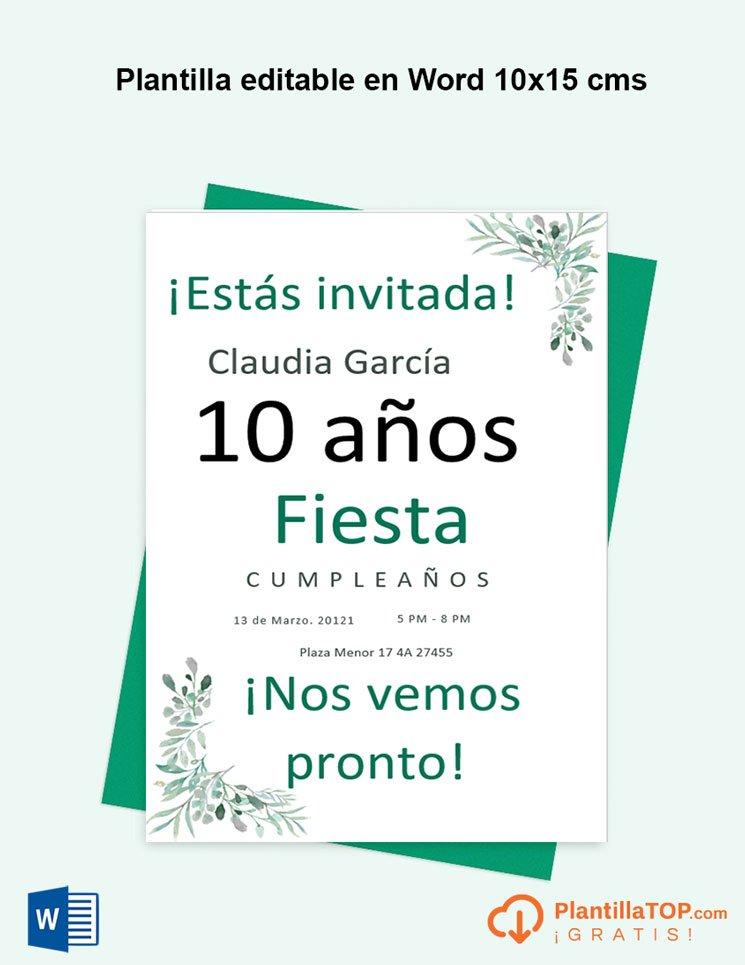 plantilla invitacion cumpleaños