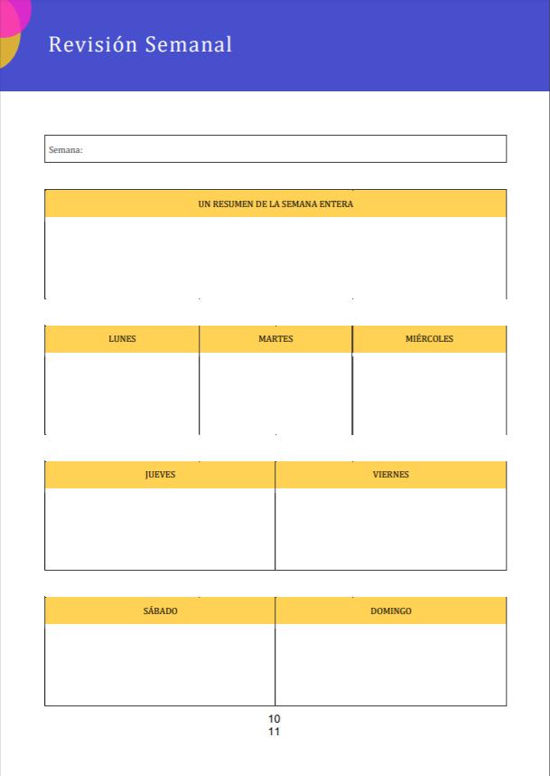revision semanal bullet journal