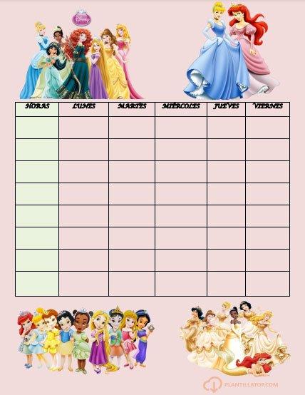 horario cole princesas