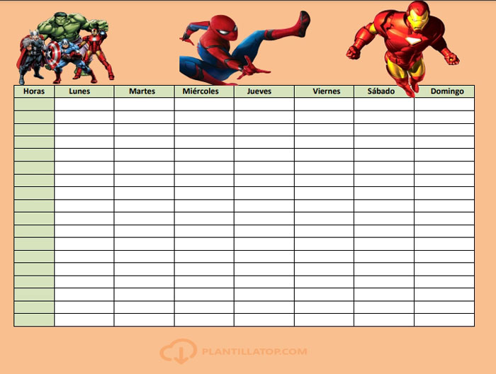 horario con superheroes