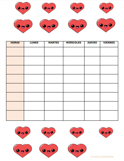 horario escolar con corazones kawaii