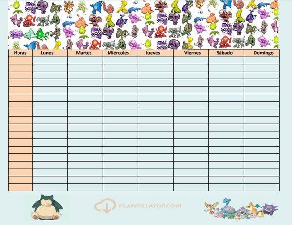 horario para el cole con pokemons
