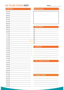 planificador diario horas
