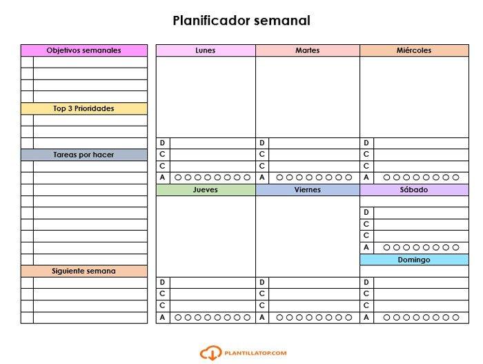 planificador semanal objetivos y menus