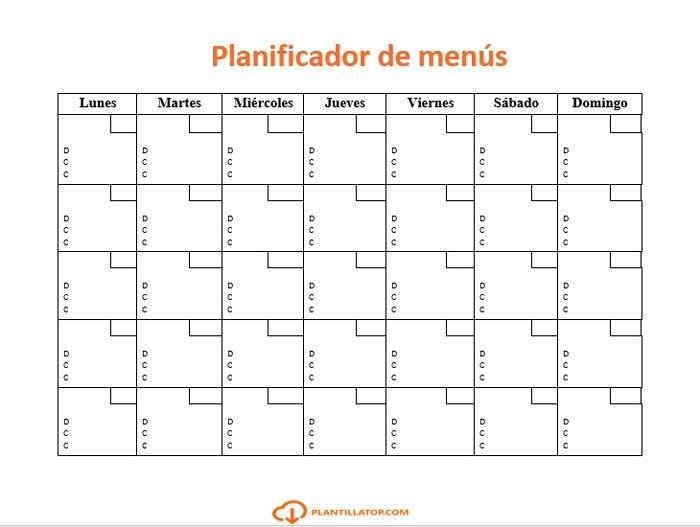 planning de menus mensuales