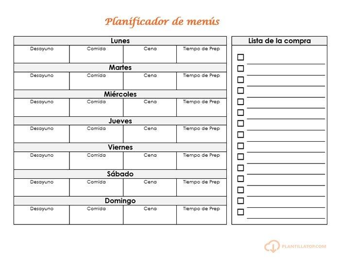 planning menu horizontal