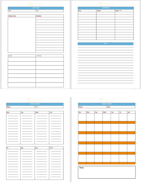 sheets schedule templates