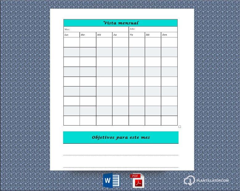 vista mensual agenda